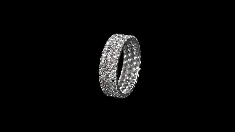 Round brilliant 3 rows eternity ring